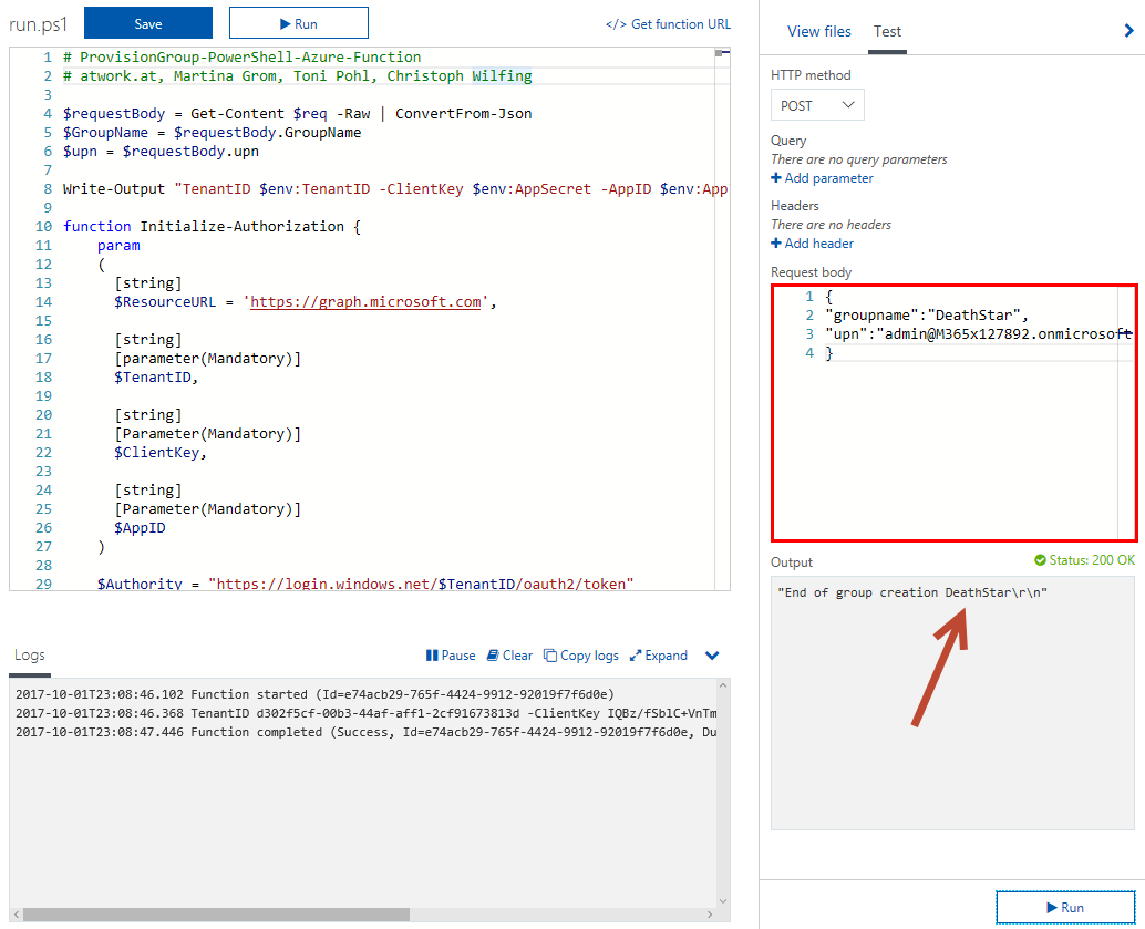 blog atwork at | Provisioning an Office 365 group with an