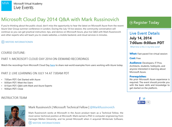 Microsoft Cloud Day 2014 mit ...