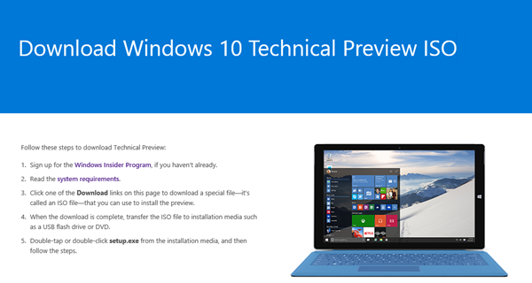 blog atwork at | Download Windows 10 Technical Preview ISO
