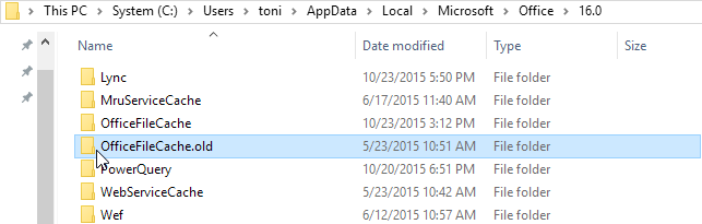 blog atwork at | Delete unused Office Cache of OneDrive For
