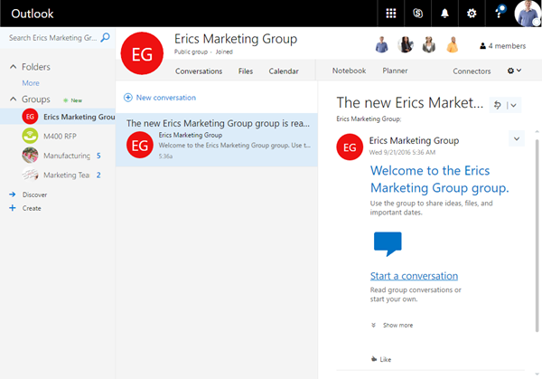 Management capabilities for Office 365 Groups