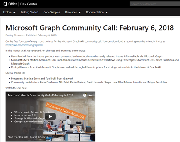 Joining the Microsoft Graph Community Calls - atwork