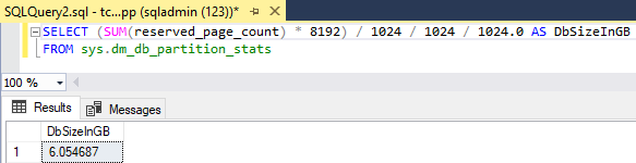 blog atwork at | Get the size of a SQL Azure database quickly