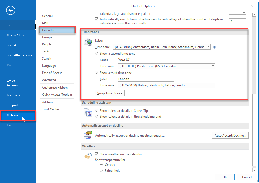 blog atwork at | How to use multiple time zones in your Outlook calendar