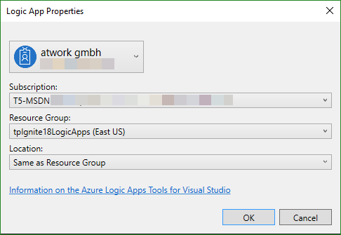 blog atwork at | Working with the Azure Logic Apps Tools for Visual
