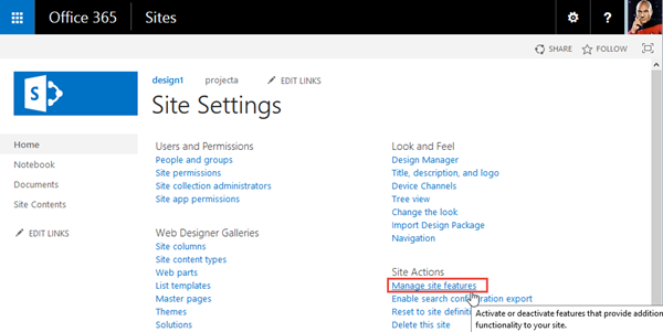 where is the publishing page in the sharepoint online trial