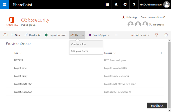 Provisioning an Office 365 group with an approval flow and