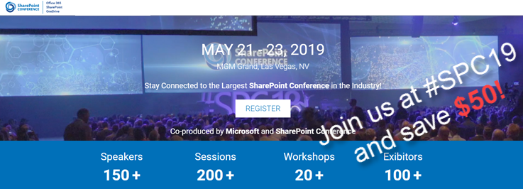 Join us at SharePoint Conference 2019 this May and save $50!